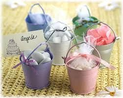 Beach Pail Buckets to fill your treats or sugared Coated Almonds Christening Bomboniere