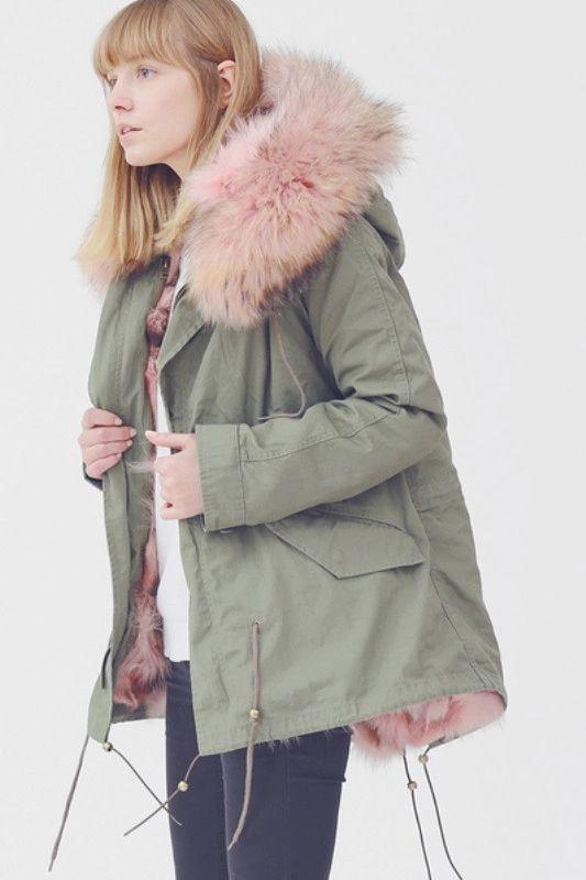 Pink fur trim khaki jacket...keep.com #pinkfur #pinkstuff