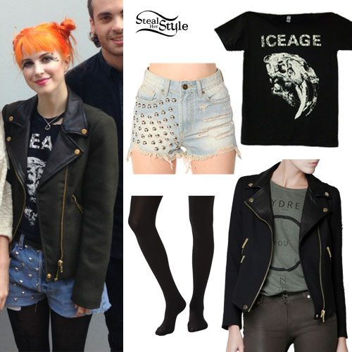 Hayley Williams' look, two budgets. #frugal #splurge Hayley wears an Iceage Skull Shirt (sold out) and a Cross Over Jacket With Leather Lapels from Zara ($129.00, sold out). You can get a similar look with the Forever 21 Bouclé Moto Jacket ($32.80), studded denim shorts from Forever 21 ($24.80) and opaque black tights from Target ($10.00).