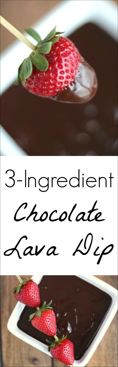 This easy, incredibly decadent 3-Ingredient Chocolate Lava Dip is perfect at room temperature, or served warm as a fondue or molten lava dip! ~  www.TwoHealthyKitchens.com