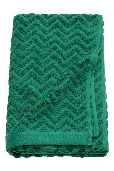 Jacquard-patterned bath towel - Dark green - Home All | H&M GB 1