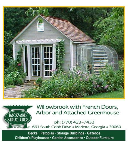 pretty garden shed with green house - Garden Sheds Georgia