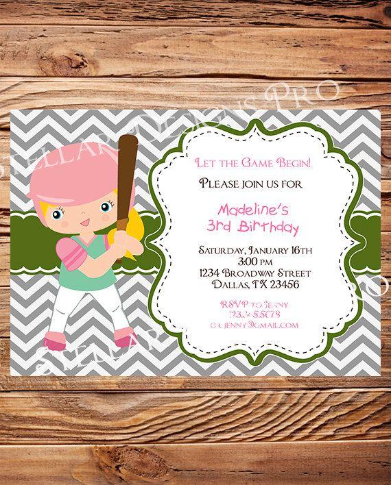 Baseball Softball Birthday Party Invitation by StellarDesignsPro @Sandi Marker