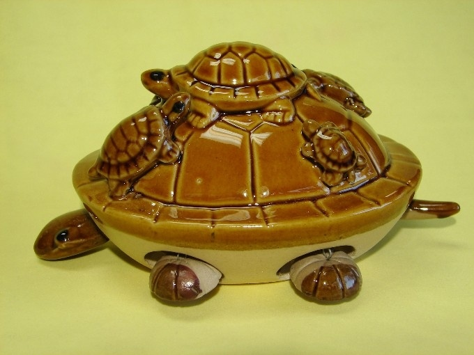 Brown Turtle with 5 Little Turtles on the Top
