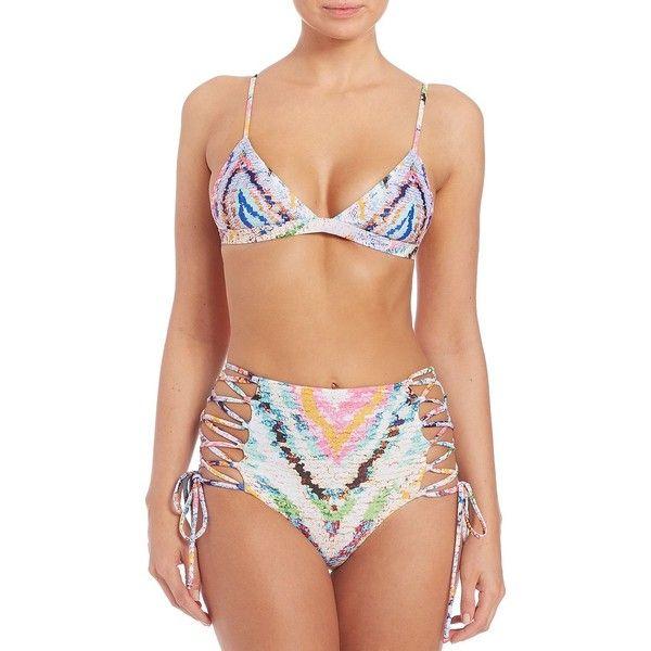 Mara Hoffman Rainbow Roll Triangle Bikini Top (171 CAD) ❤ liked on Polyvore featuring swimwear, bikinis, apparel & accessories, multi, mara hoffman swimwear, colorful swimwear, triangle swim top, triangle bikini bottoms and rainbow swimwear