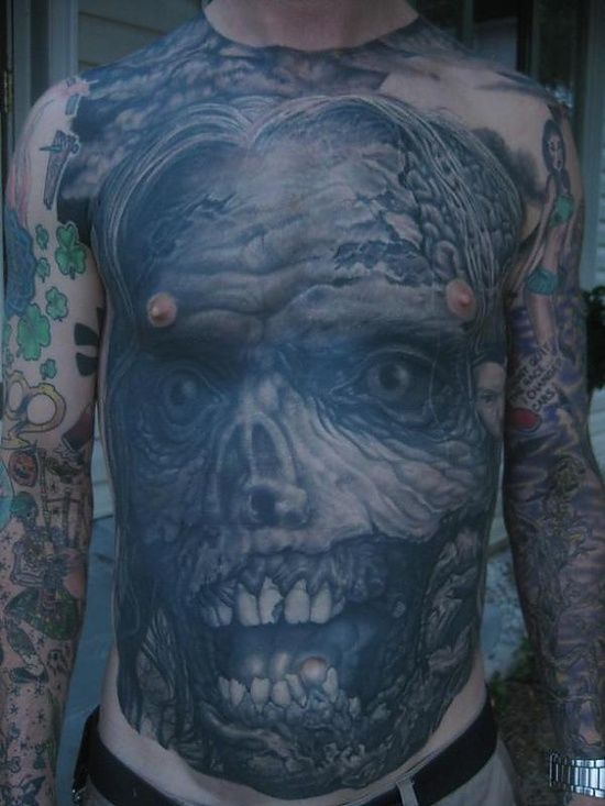 60 fotos de tatuagens de zumbis: Grey Tattoos, Body Art, Zombie Tattoos, Gut Tattoo, Tattoo Design, Guy Tattoos, Body Suits, Zombie Gut