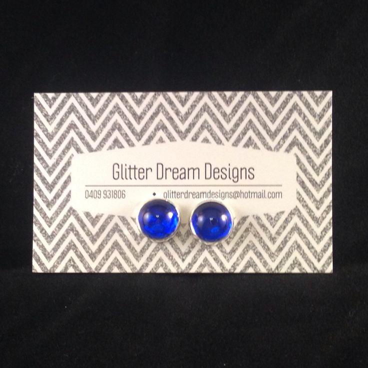 Order Code B2 Blue Cabochon Earrings