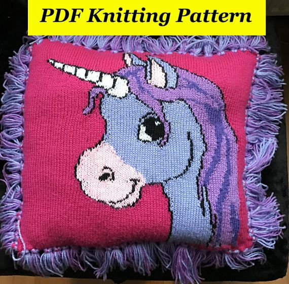 Cute Unicorn Cushion / Pillow Knitting Pattern 1 PDF ...