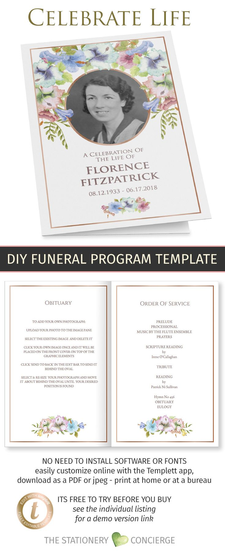 Printable Floral Memorial Program With Cover Photo Obituary