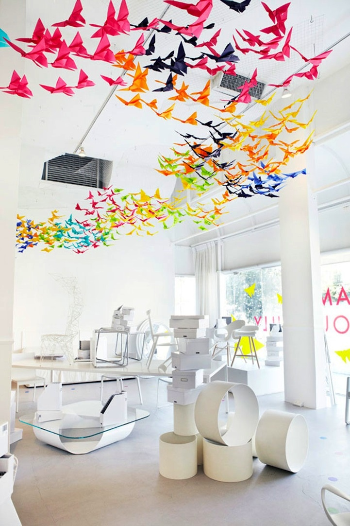 hang colorful origami birds in your office