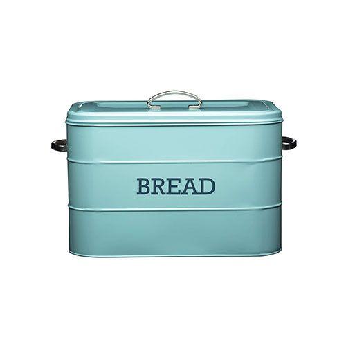 Kitchen Craft Living Nostalgia Duck Egg Blue Steel Bread Bin
