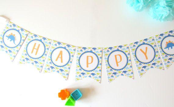 Personalised Blue Dinosaur Bunting. Birthday Party Kids