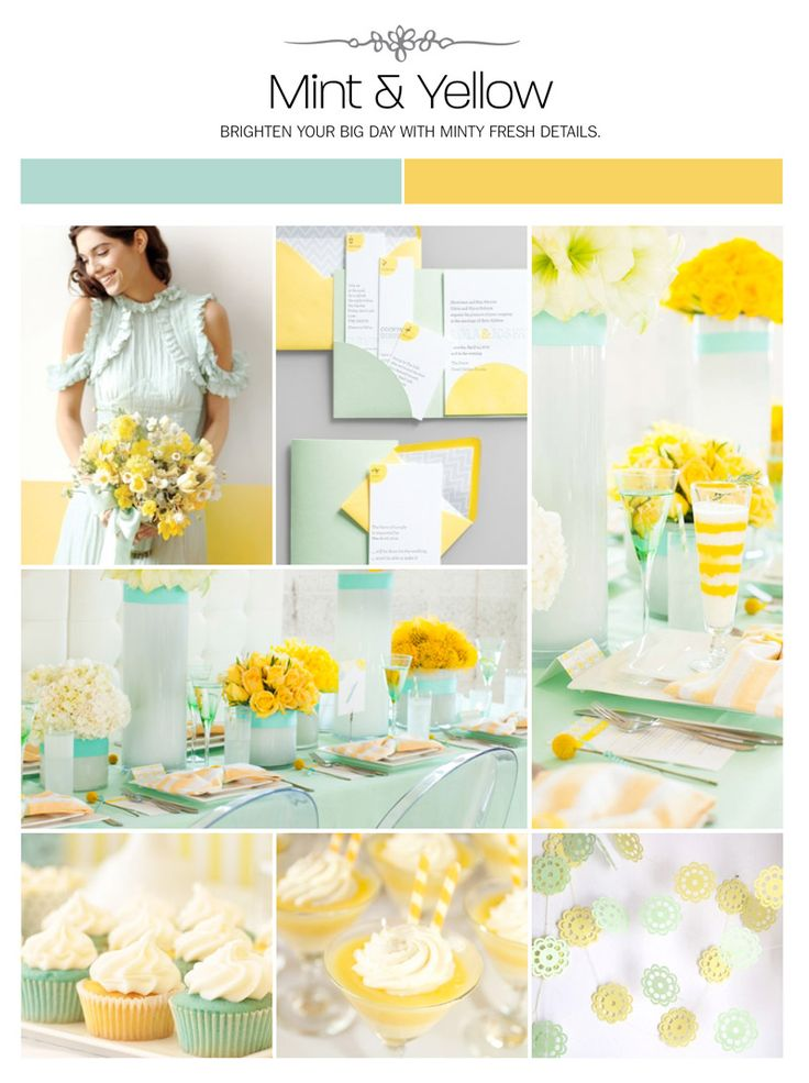 Mint and yellow wedding inspiration board, color palette, mood board via Weddings Illustrated
