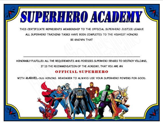 SUPERHERO ACADEMY CERTIFICATE Digital File, Instant Download, Superhero party printable