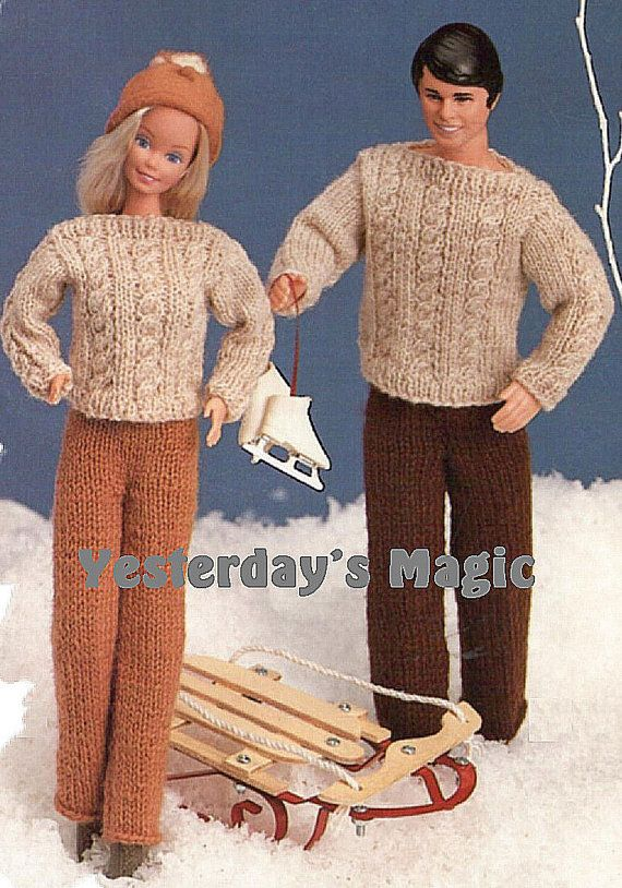 Vintage Knitting Patterns For Dolls Clothes : Instant Download PDF KNITTING PATTERN to make Barbie or ...