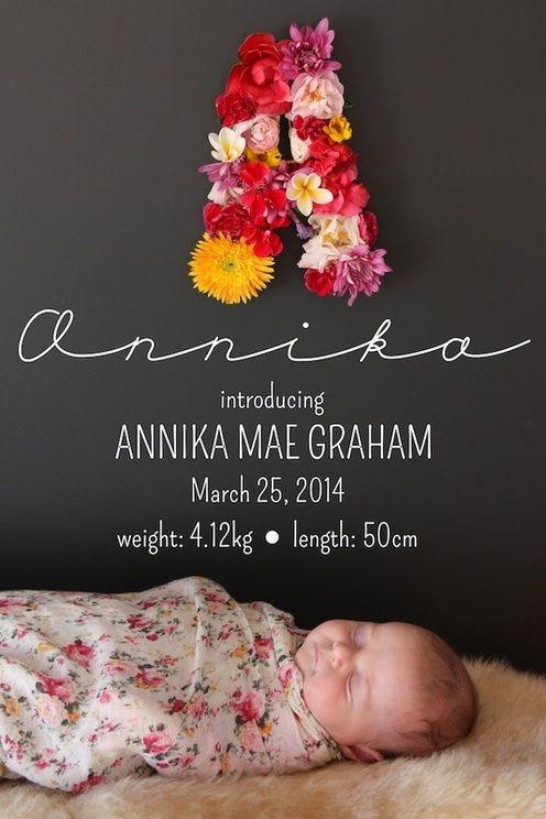 DIY Flower Monogrammed Birth Announcements