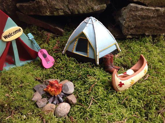 Miniature camping fairy garden canoe for rustic mountain