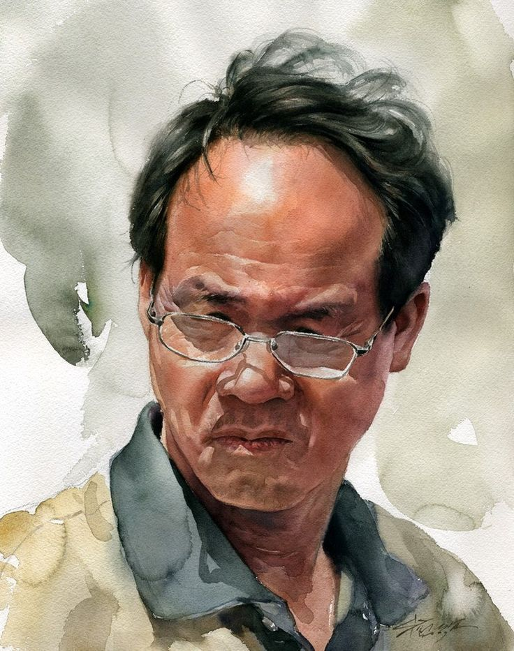 Artist: Misulbu, watercolor {contemporary figurative art male head eyeglasses man face portrait painting #loveart}