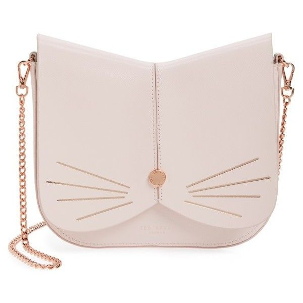 Women's Ted Baker London Cat Leather Crossbody Bag (610 BRL) ❤ liked on Polyvore featuring bags, handbags, shoulder bags, baby pink, pink crossbody purse, handbags crossbody, leather shoulder handbags, leather shoulder bag and man leather shoulder bag