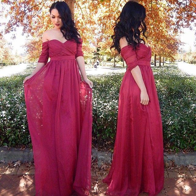 Prom Dresses,Evening Dress,Prom Dresses,Cheap Ruffles Long Half-sleeve Off-the-shoulder