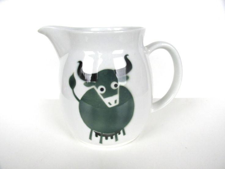 Arabia Of Finland Heluna Cow Pitcher, Kaj Franck Green Bull Milk Jug, Mid Century Modern Scandinavian Pitcher by HerVintageCrush on Etsy