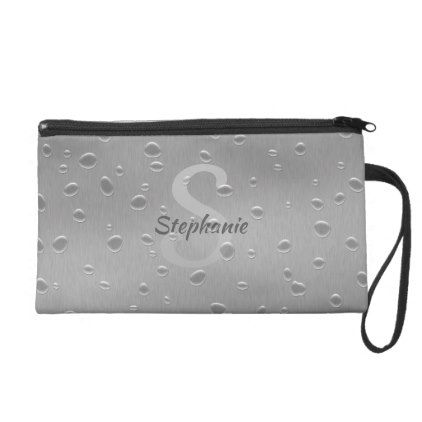 Water Drops on Brushed Metal Name - Wristlet Bag  $50.20  by SorayaShanCollection  - cyo diy customize personalize unique