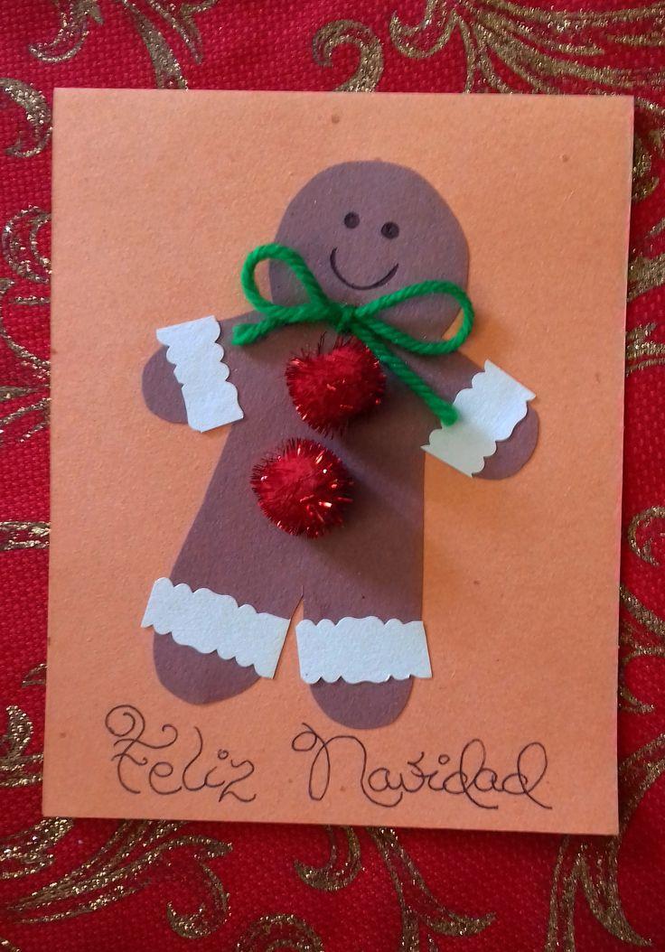 Tarjeta de GINGERMAN elaborada con papel cartulina de color chocolate, papel cartulina de color blanco, lana verde y bolillas rojas. ¡Lindo y refácil!