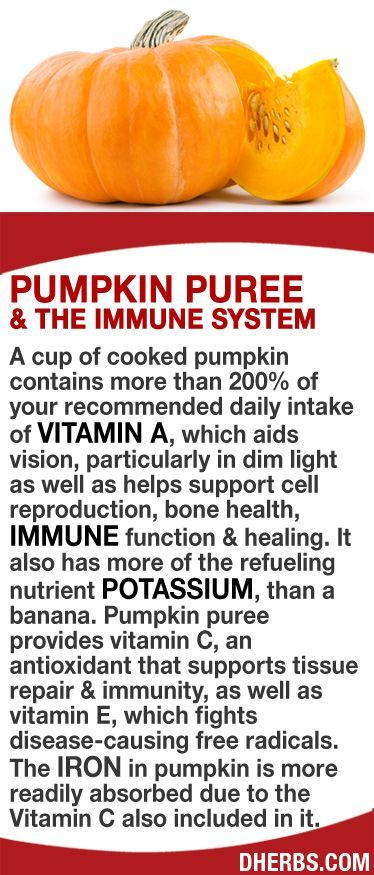 A cup of cooked pumpkin contains more than 200% of your RDA of vitamin A, which aids vision, particularly in dim light as well as helps support cell reproduction, bone health, immune function & healing. It has more of the refueling nutrient potassium, than a banana. Pumpkin puree provides vitamin C, that supports tissue repair & immunity, & vitamin E, which fights disease-causing free radicals. The iron in pumpkin is more readily absorbed due to the Vitamin C also included in it. #dherbs