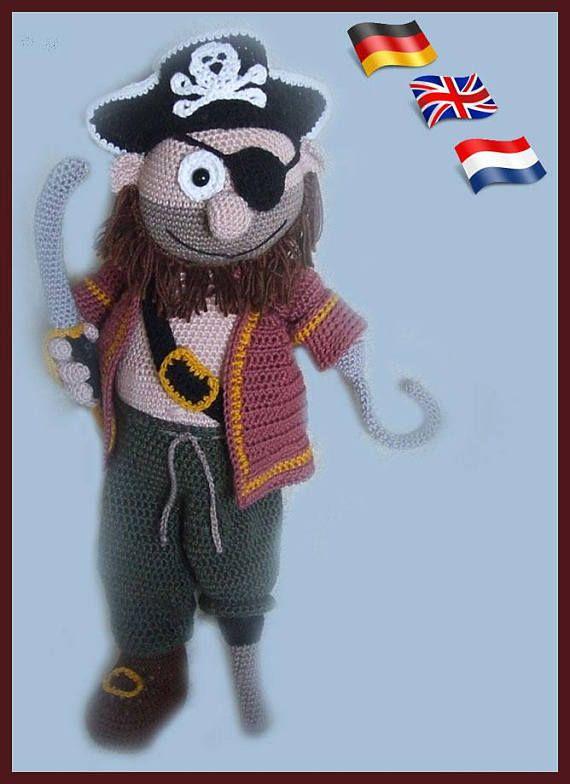 Captain Jack Amigurumi Doll Crochet Pattern Crocheted Dolls