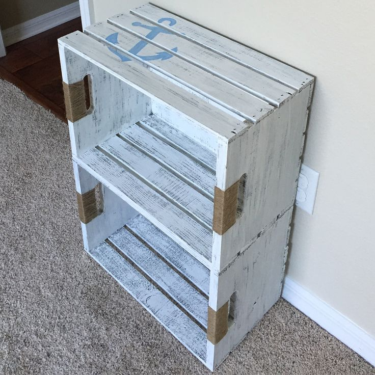 Diy crate bookshelf for nautical nursery.