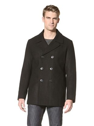 Calvin Klein Men's Double-Breasted Pea Coat (Black)