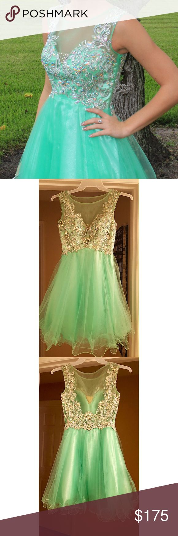 ⭐️Short Homecoming/Formal Dress/Party Dress⭐️ Size 2, (I'm 5'6 1/2, 127 lbs, 32 B but definitely room for a bigger bra size), mesh top with lots of rhinestones. Stunning back. No holes/missing jewels, or stains. No longer sold in retail.  Not Sherri Hill, tagged for views.  Already dry cleaned. Worn once. 2015 dress. WILLING TO NEGOTIATE PRICE, just comment (: Sherri Hill Dresses Mini