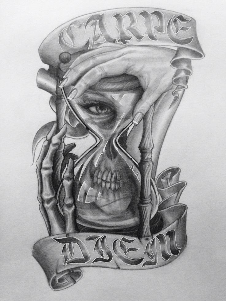 Carpe diem skull face sand my drawings pinterest for Skull hourglass tattoo