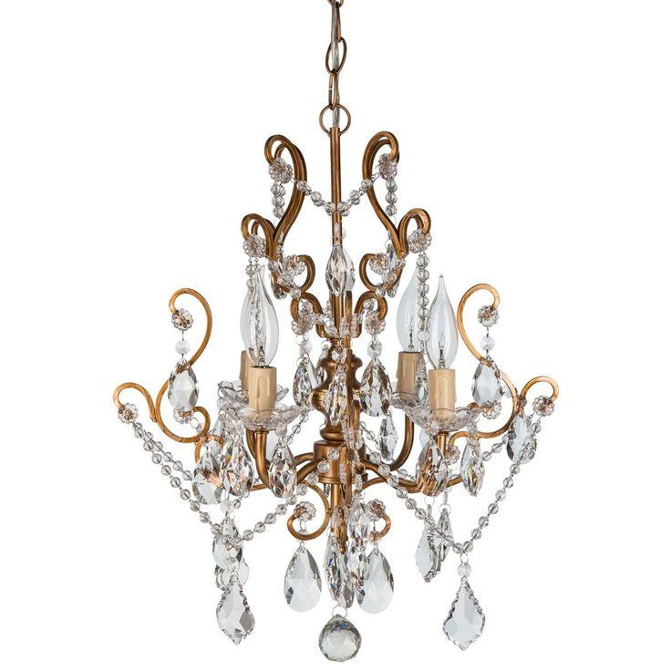 4 light vintage crystal plug in chandelier gold