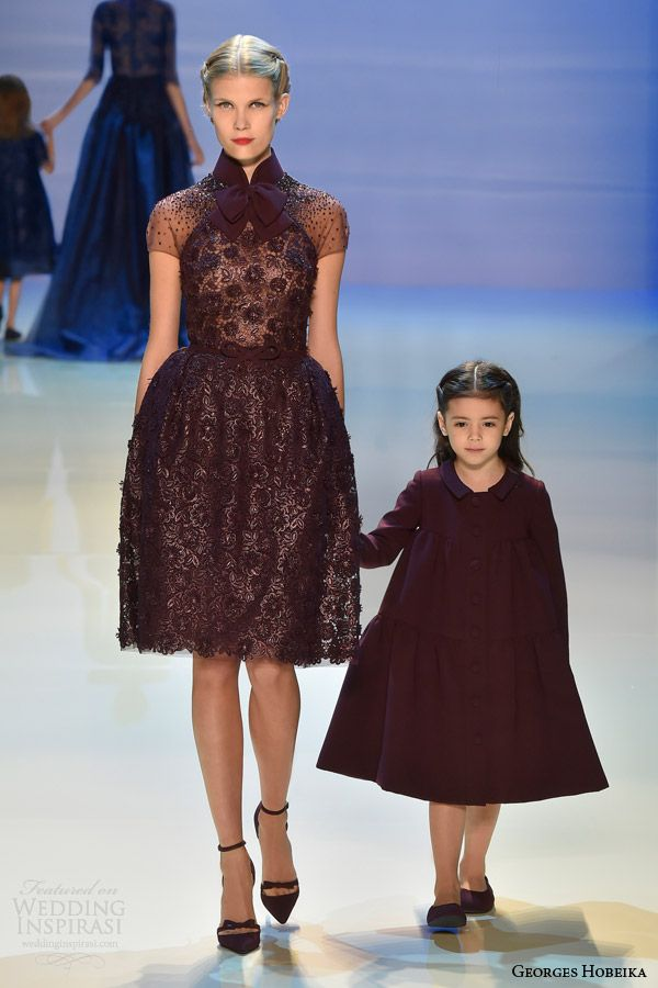 georges hobeika couture fall winter 2014 2015 look 22 short maroon dress
