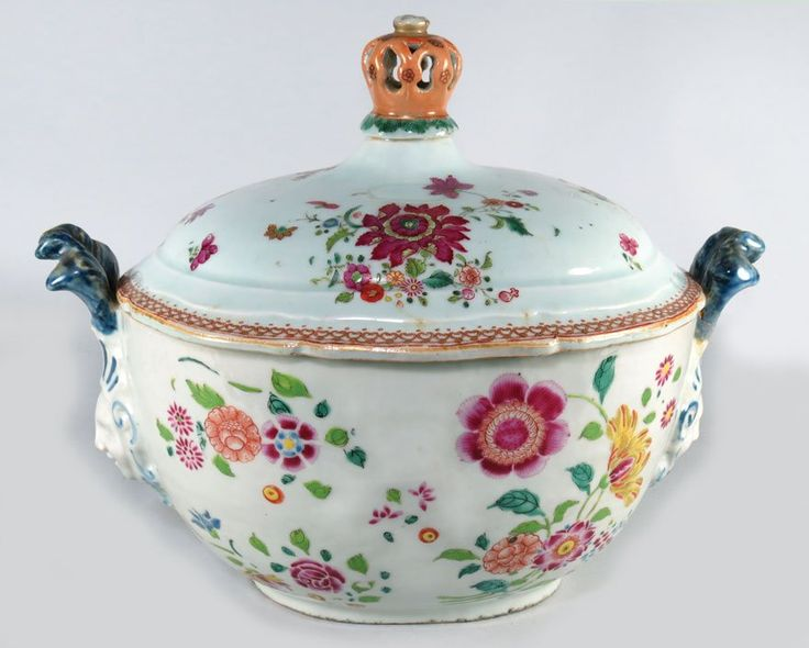 "Chinese Export Porcelain Covered Tureen (18th C.) | Quinlong (1736-1795), East India Company, most likely made for the Portuguese market oval-form, overall floral decoration, the dome-top with reticulated crown finial, applied masque with plume headdress handles, 11""h; 14"" by 9"" 