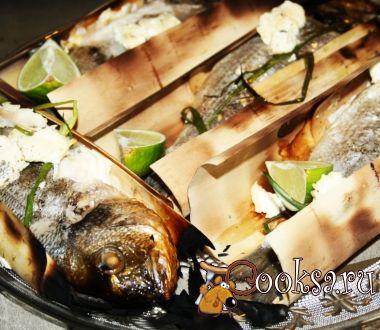 Дорадо с адыгейским сыром в гриль-бумаге на мангале