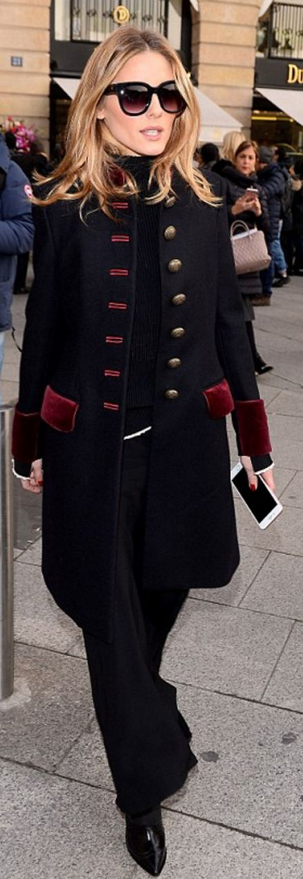 Who made Olivia Palermo's blue coat and black sunglasses?