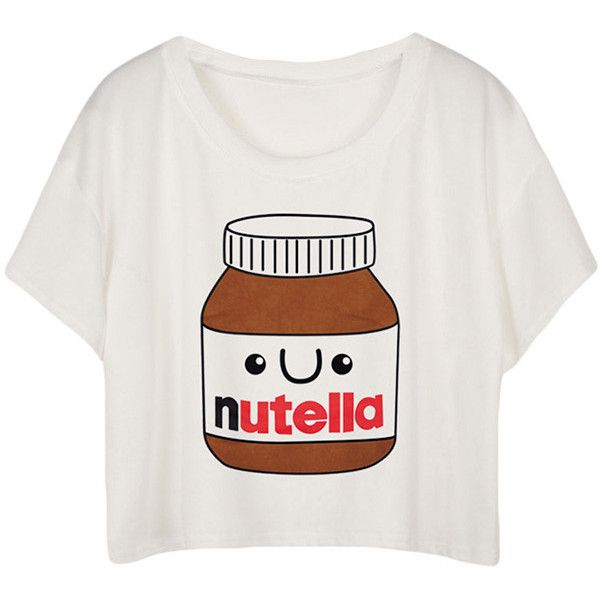 White Fashion Nutella Printed Ladies T-shirt found on Polyvore featuring tops, t-shirts, shirts, tees, crop top, white, white t shirt, white tee, t shirts and white shirt