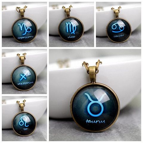 15 best handmade cabochon pendant necklaces images on pinterest handmade zodiac sign glass cabochon pendant necklace mozeypictures Gallery