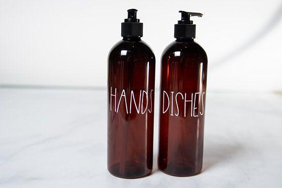 Hand And Dish Soap Dispenser Set Modern Kitchen Decor Plastic