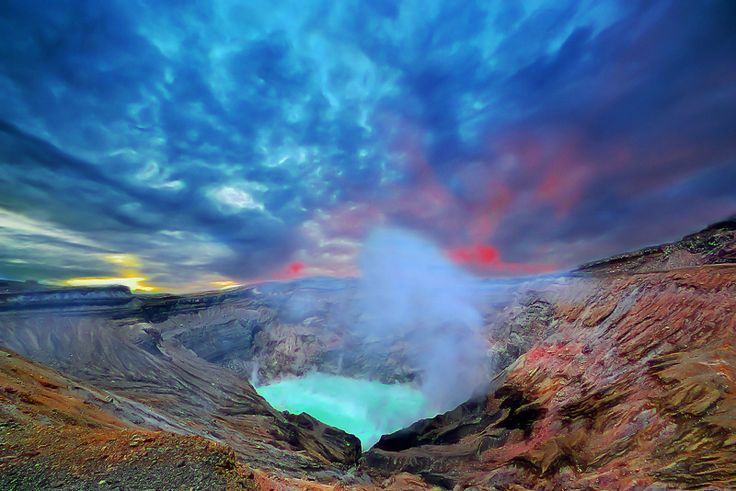 Mount Aso (阿蘇山 Aso-san?) is the largest active volcano in ...