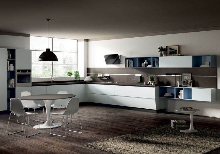 Curved base units and linear base units create an effective balance of components, volumes and proportions.