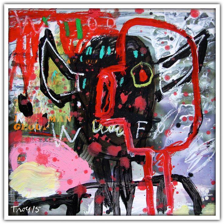 Troy Henriksen - Devil Blues (record sleeve) - Acrylique et mixte sur carton - 31 x 31 cm - 2015 - Galerie W - Galerie d'Art contemporain à Paris #galeriew #gallery #w #gallery w #troy-henriksen @galeriew