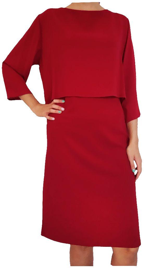 Vestido con blusa simulada, (Combi liso) Color granate.
