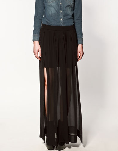 Black Chiffon long slit skirt outfit option