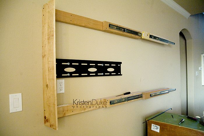 How to double up kitchen drawer sliders to accommodate a big TV.....maybe this would help joe with my vision