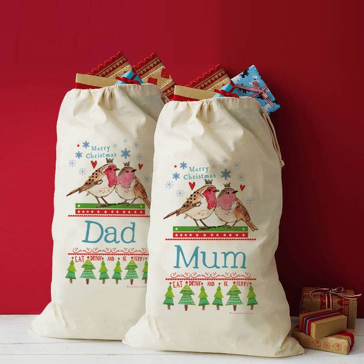 A set of personalised Christmas sacks perfect for any happy couple!Choose to have surnames ie Mr Boston, just the letter ie Mr P, Dad, first names, ie Mark or even your pet names for each other ie Hubby! Great for Grandma and Granddad too! The wording on this sack reads 'Merry Christmas [name of your choice] Eat, drink and be merry' We welcome corporate orders, and can change the 'Mr' and 'Mrs' to 'The girls' & 'The boys' or how about your work team names for gifts from secret santa!Creat...