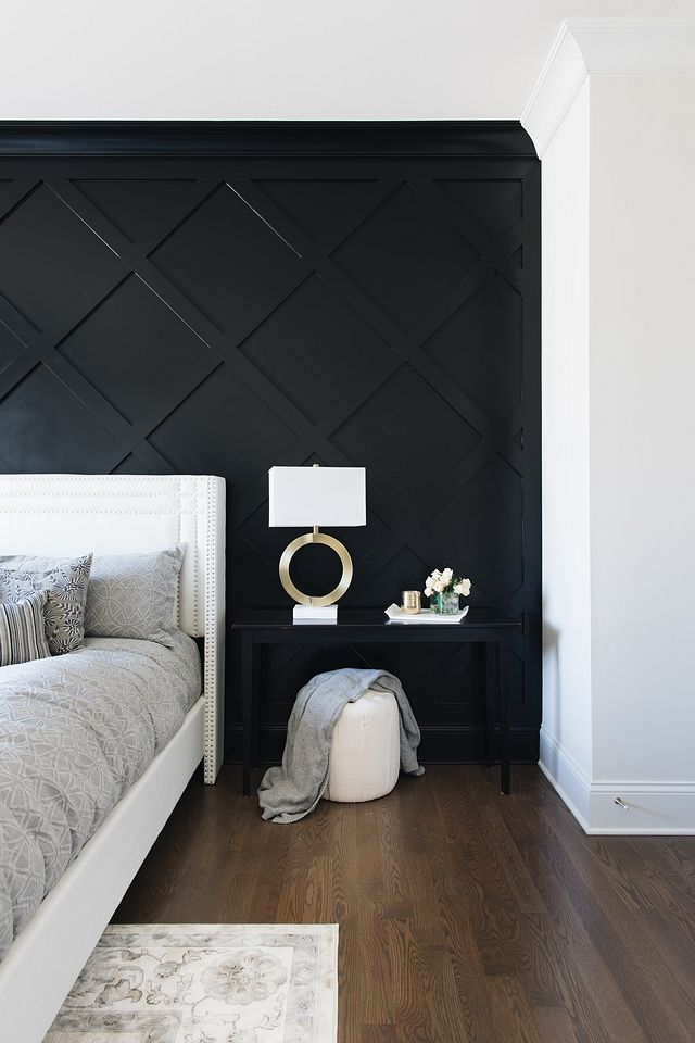 Crossed Inset Wall Paneling I Used 1x4s Over Drywall And Then A Small Cove Molding Around The Edges The Whole Wall Bedroom Interior Home Bedroom Bedroom Design