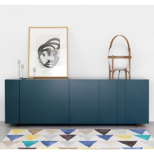 Kilt Closed Sideboard Long by Asplund features a tartan pattern proportioned according to the architectural principles of the golden ratio.